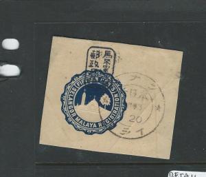 MALAYA JAPANESE OCCUPATION SELANGOR (P1007B) RLE CUT OUT 15C WITH CHOP VFU
