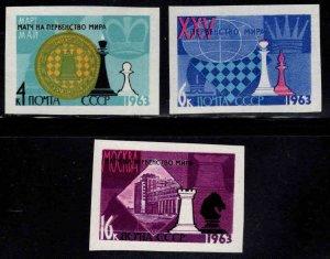 Russia Scott 2742-2744 MNH**  Imperforate Chess Championship stamp set