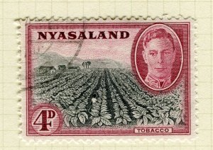 NYASALAND; 1945 early GVI issue fine used 4d. value
