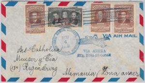 Flowers: ROSES -- HONDURAS postal history: AIRMAIL COVER to GERMANY ST ROSA 1953