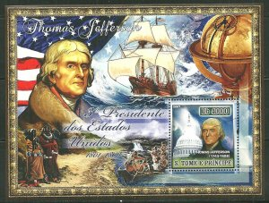 St. Thomas & Prince Islands MNH S/S Thomas Jefferson