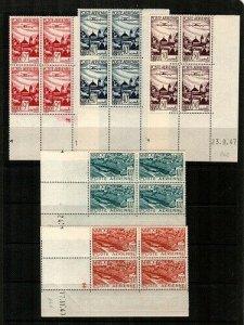 French Morocco Scott C34-8 Mint NH blocks (Catalog Value $51.00)