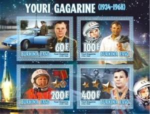 Stamps. Space Gagarin Set 2 sheet perforated