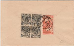 STRAITS SETTLEMENTS 1937 KGV KGVI CORONATION COVER VIA CEYLON