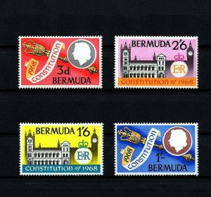 BERMUDA - 1968 - QE II - NEW CONSTITUTION - PARLIAMENT - LONDON ++ 4 X MNH SET!
