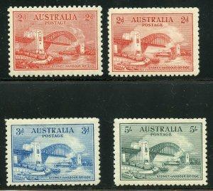 AUSTRALIA SYDNEY BRIDGE SCOTT#130/33 MINT HINGED AS SHOWN--SCOTT VALUE $591.00
