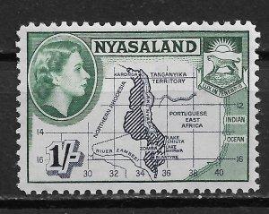 1953 Nyasaland 106 Map & Coat of Arms 1Sh MNH