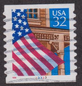 US #2915A Flag over Porch Used PNC Single plate #33333