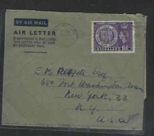 NYASALAND  (P1703B)  1953 BLANTYRE FORMULA AEROGRAM RHODES CENT 6D TO USA