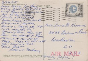 Aden 1/25 QEII Colony Badge 1965 Aden PPC Airmail to Washington, D.C.