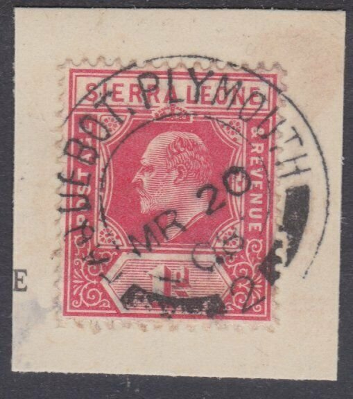 SIERRA LEONE 1908 EVII 1d on piece PAQUEBOT / PLYMOUTH cds.................29993