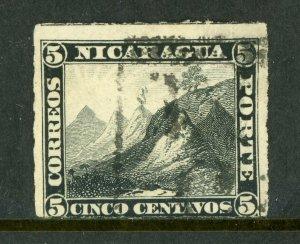 Nicaragua 1877 5¢ Black Momotombo Roulette w/Granada  Cancel L365