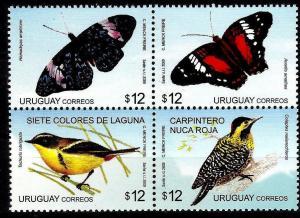 Uruguay 2009 butterflies birds 4v  MNH