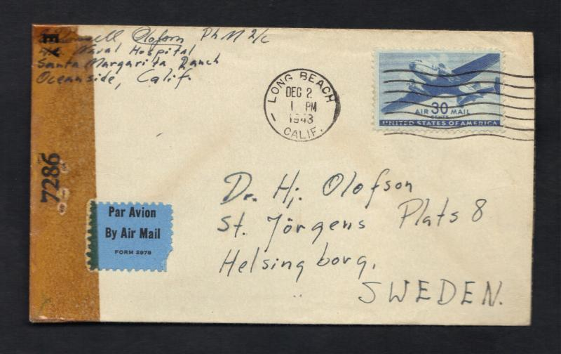 1943 US Air Mail Cover Sc#C30(AP17) Oceanside,Calif. To Sweden