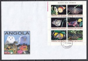Angola. 2000 issue. Butterflies sheet of 6. Large First day cover. ^