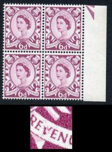 Scotland XS16a 6d Purple Crowns Wmk Cream Paper with Broken V Of Revenue