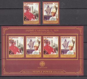 Z3845, 2006 philippines set + s/s mnh #3016-17a religion