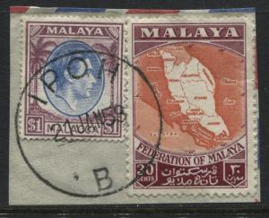 Malaya Malacca KGVI 1949 $1 used with later Malaya stamp