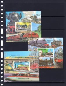 Djibouti 1981 Trains/TGV/962Japan 3 S/S Imp. MNH Sc#525/527