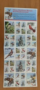 1990 National Wildlife Federation-Conservation Christmas Stamps Full Sheet of 36
