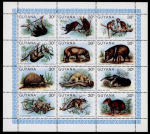 Guyana 329 MNH Animals, Monkeys, Sloth, Armadillo, Opossum, Porcupine