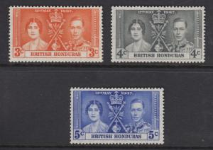 British Honduras-Scott 112-114 - Coronation Issue -1937 -MVLH - Set of 3 Stamps