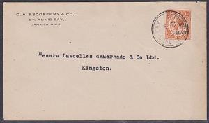 JAMAICA 1919 local cover 1½d War Tax : St Anns Bay csd.......................741
