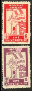 INDO-CHINA 1942 HANOI UNIVERSITY Semi Postal Set Sc B20-B21 MNGAI