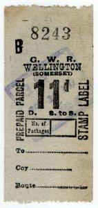 (I.B) Great Western Railway : Prepaid Parcel 11d (Wellington)