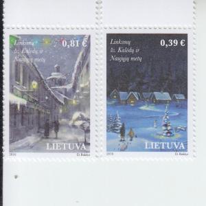 2016 Lithuania Christmas & New Years (2) (Scott 1090-91) MNH
