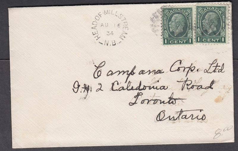 NEW BRUNSWICK SPLIT RING TOWN CANCEL COVER HEAD OF MILLSTREAM