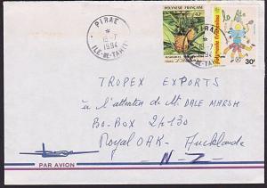 NEW CALEDONIA 1994 cover to NZ ex PIRAE, 42f self adhesive etc..............6623