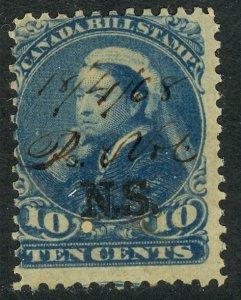 CANADA NOVA SCOTIA 1868 QV 10c BILL STAMP REVENUE VDM. NSB11 USED