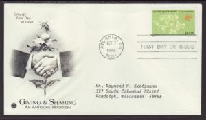 US Giving and Sharing 1998 PCS Typed FDC BIN