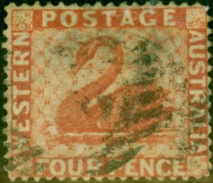 Western Australia 1882 4d Carmine SG78 Fine Used Stamp
