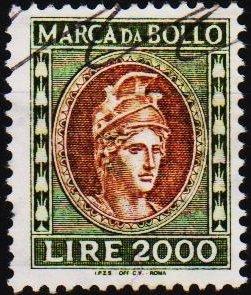 Italy. Date? 2000L (Marca Da Bollo).Fine Used