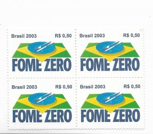 BRAZIL BRASIL 2003 Zero Hunger Programme Social Care Block of 4 Mint Mi 3328
