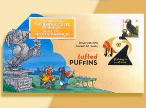 Celebrating the Tuftedest Puffin Ever!  Colorful Pop-Up Cachetoons FDC!