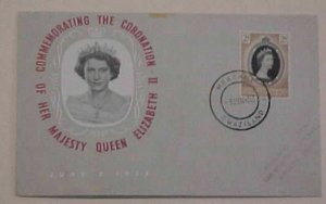 SWAZILAND QUEEN ELIZABETH II CORONATION FDC 1953  CACHETED