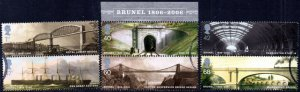 2006 Sg MS2613 Isambard Kingdom Brunel Minisheet Fine Used Set of 6