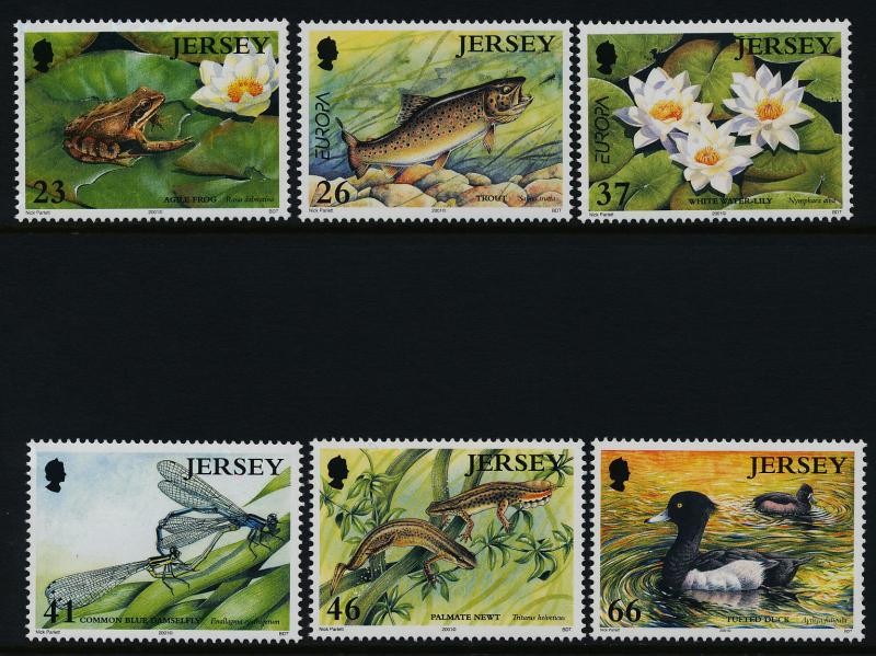 Jersey 989-94 MNH Pond Life, Flowers, Frog, Fish, Birds, Ducks, Insects, Newt