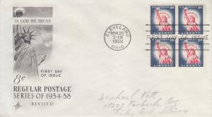 1958 Statue of Liberty B4 (Scott 1042) FDC