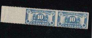 10c Playing Card Tax Stamp, Sc #RF24a, MNH, Horizontal Imperf Pair (42193)