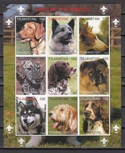 Tadjikistan, 1999 Russian Local issue. Dogs of the World, IMPERF sheet of 9.