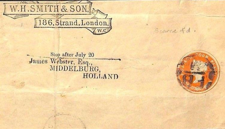 MS2369 1890s QV WHS POSTAL STATIONERY Scarce QV 4d Die COMPLETE WRAPPER Holland