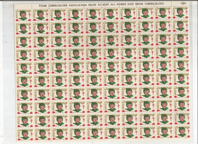 1953 CHRISTMAS SEALS, FULL SHEET
