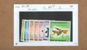 Laos 184-189, C56-C57  MNH (small brown spots of a few stamps)