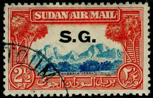 SUDAN SGO60, 2½p light blue & red-orange, FINE USED.