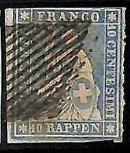 94993cB - SWITZERLAND - STAMP - Zumstein # 23 Green Thread  / Medium  Paper USED