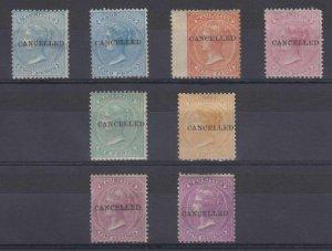 BC MAURITIUS 1863-72 QV Sc 33-35, 37, 39, 41, 41a CANCELLED MINT/UNSD SCV$827+